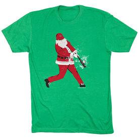 Baseball T-Shirt Short Sleeve Home Run Santa