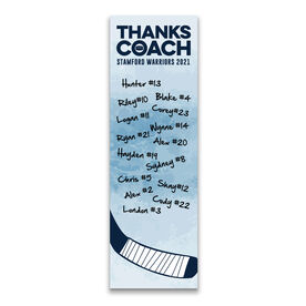 """Hockey 12.5"""" X 4"""" Removable Wall Tile - Thanks Coach (Autograph) Vertical"""