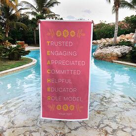Personalized Premium Beach Towel - Teacher Words