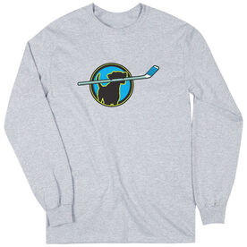 Hockey Tshirt Long Sleeve Hockey Dog