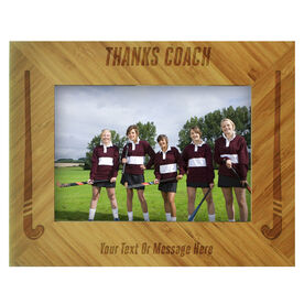 Field Hockey Bamboo Engraved Picture Frame Thanks Coach