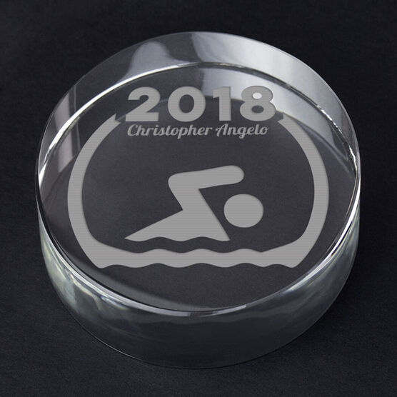 Swimming Personalized Engraved Crystal Gift - Custom Team Award