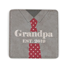 Personalized Stone Coaster - Grandpa with Year