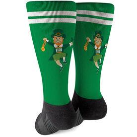 Running Printed Mid-Calf Socks - Lucky Leprechaun Runner