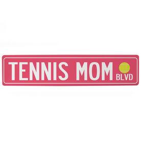 "Tennis Aluminum Room Sign - Tennis Mom Blvd (4""x18"")"