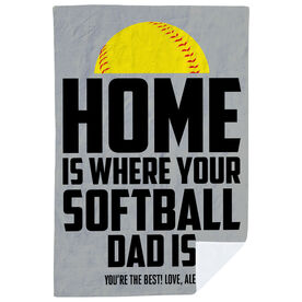 Softball Premium Blanket - Home Is Where Your Softball Dad Is