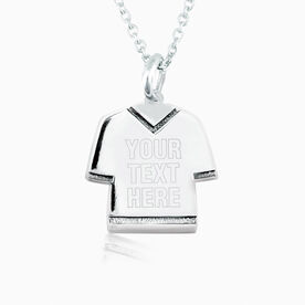Sterling Silver Personalized Jersey Necklace Your Text
