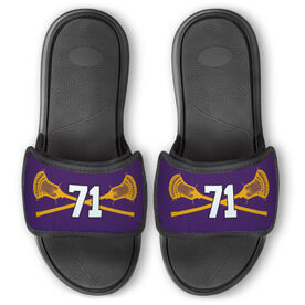 Guys Lacrosse Repwell™ Slide Sandals - Crossed Sticks with Number