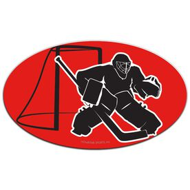 Hockey Oval Car Magnet Goalie