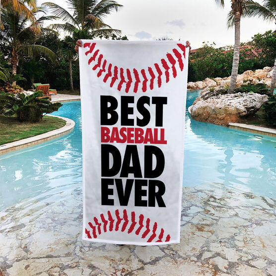 Baseball Premium Beach Towel - Best Dad Ever
