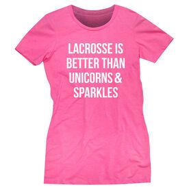 Girls Lacrosse Women's Everyday Tee - Lacrosse is better than Unicorns