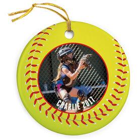 Softball Porcelain Ornament Custom Photo