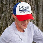 Baseball Trucker Hat - Baseball Hair Don't Care
