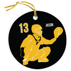 Baseball Porcelain Ornament Personalized Catcher Silhouette