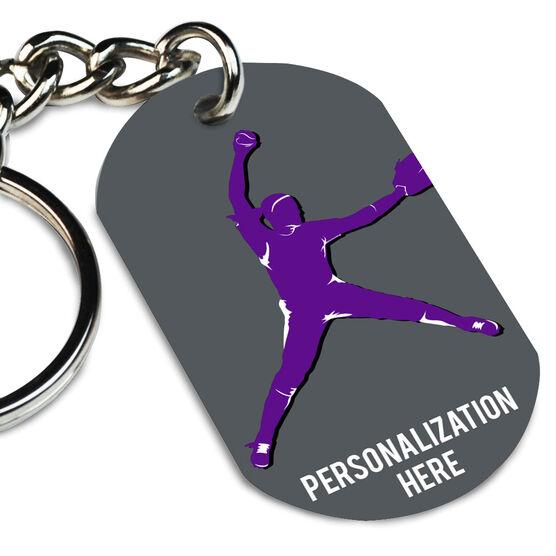 Softball Printed Dog Tag Keychain Personalized Softball Pitcher