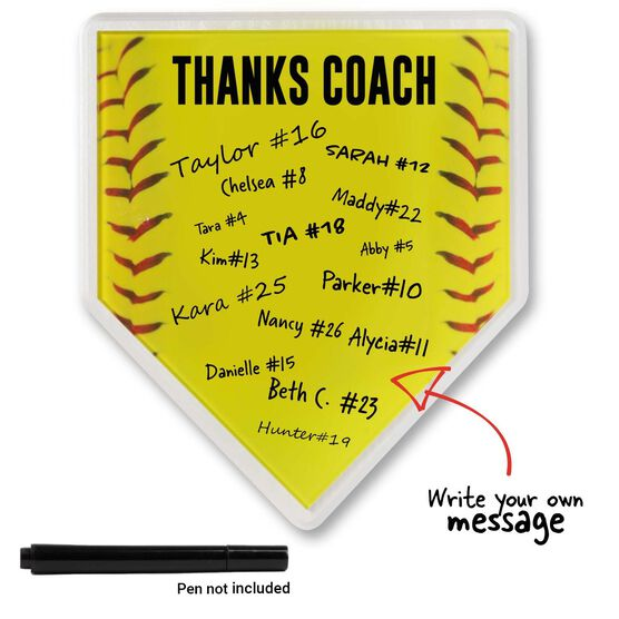 Premier Wooden Softball Home Plate Plaque - Thanks Coach