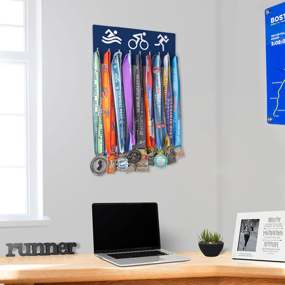 Triathlon Hooked on Medals Hanger - Tri Icons