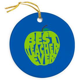 Teacher Porcelain Ornament - Best Teacher Ever Apple
