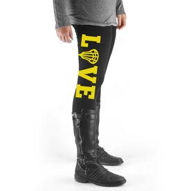 Girls Lacrosse High Print Leggings LOVE with Lacrosse Stick Head