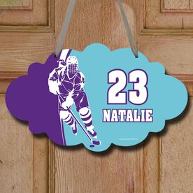 Hockey Cloud Room Sign Personalized Hockey Girl with Big Number