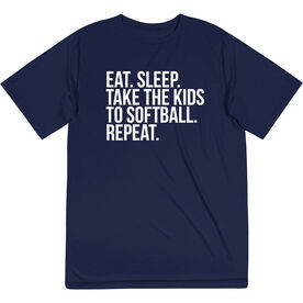 Softball Short Sleeve Performance Tee - Eat Sleep Take The Kids To Softball