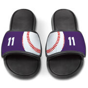 Baseball Repwell® Slide Sandals - Ball and Number Reflected