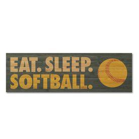 """Softball 12.5"""" X 4"""" Printed Bamboo Removable Wall Tile - Eat Sleep Softball"""