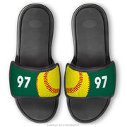 Softball Repwell® Sandal Straps - Ball and Number Reflected