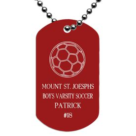 Engraved Personalized Soccer Dog Tag Necklace