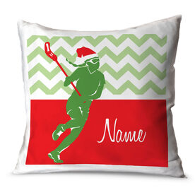 Girls Lacrosse Throw Pillow Personalized Lax Girl with Santa Hat