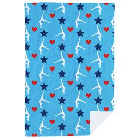 Gymnastics Premium Blanket - Stars and Hearts Gymnast Pattern