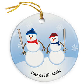 Baseball Porcelain Ornament Dad Snowman
