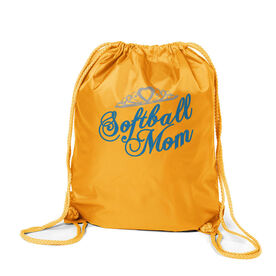 Softball Sport Pack Cinch Sack Mom Script with Tiara