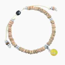 Natural SportBEAD Adjustable Bracelet - Enamel Tennis Ball Charm