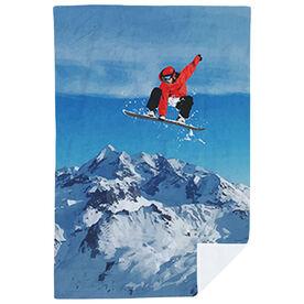 Snowboarding Premium Blanket - Airborne Landscape