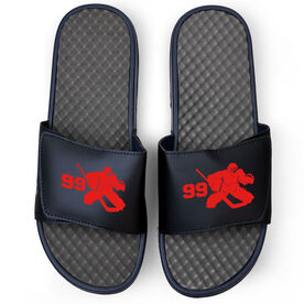 Hockey Navy Slide Sandals - Goalie with Number