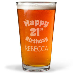 Personalized 16 oz. Beer Pint Glass - Legally Happy Birthday