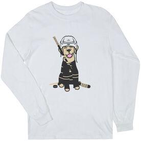 Hockey Long Sleeve T-Shirt - Hunter the Hockey Dog