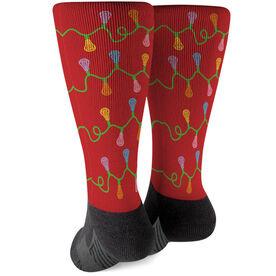 Girls Lacrosse Printed Mid-Calf Socks - Lacrosse Stick Christmas Lights