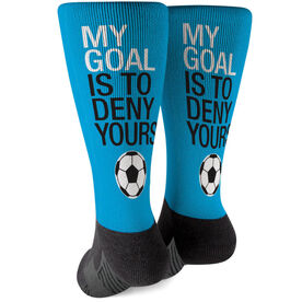 Soccer Printed Mid-Calf Socks - My Goal Is To Deny Yours Goalie