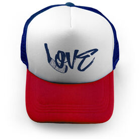 Hockey Trucker Hat Love with Stick