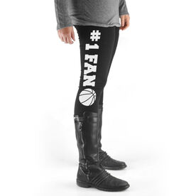 Basketball High Print Leggings #1 Fan with Basketball