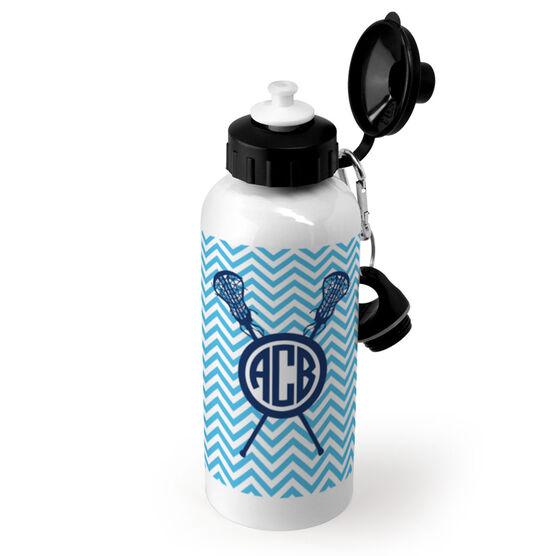 Girls Lacrosse 20 oz. Stainless Steel Water Bottle - Monogrammed Chevron Pattern With Crossed Sticks