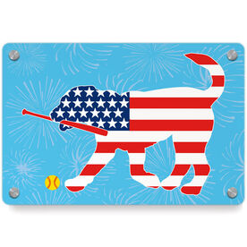 Softball Metal Wall Art Panel - Patriotic Mitts The Softball Dog