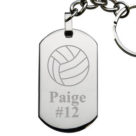 Volleyball Engraved Stainless Steel Dog Tag Keychain