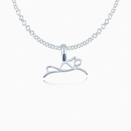 Sterling Silver Swimmer Stick Figure Necklace