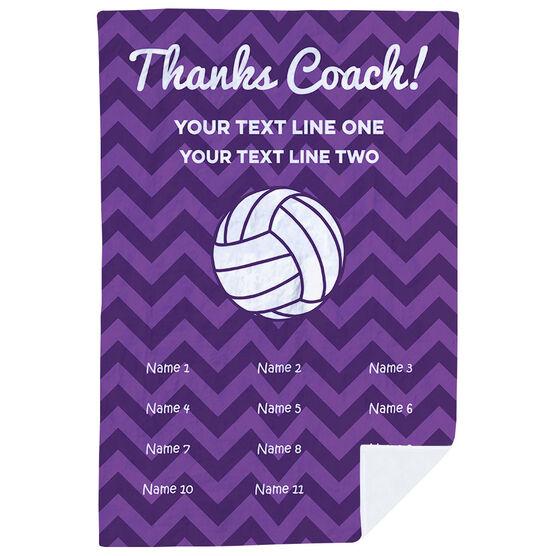Volleyball Premium Blanket - Personalized Thanks Coach Chevron