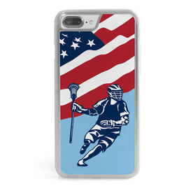 Guys Lacrosse iPhone® Case - USA Lacrosse Player Flag