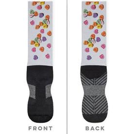 Girls Lacrosse Printed Mid-Calf Socks - Lax Candy Hearts