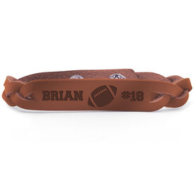 Football Leather Engraved Bracelet Name Ball Number